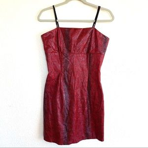 Vintage 90s Snake Skin Red Bodycon Mini Dress